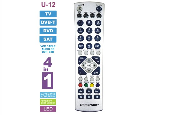 U-12 - PILOT UNIWERSALNY 4 W 1, TV, TUNER DVB-T, DVD, AUDIO, SAT, CD, VIDEO VCR, AUX